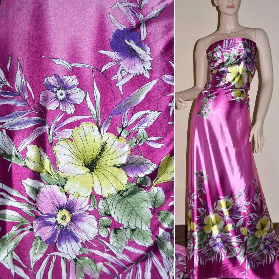 Стрейч атлас сиреневый,двухсторонний купон в большие цветы ш.150