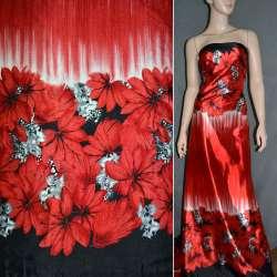 Атлас стрейч червоний, двосторонній купон з червоно-чорними кольорами ш.150