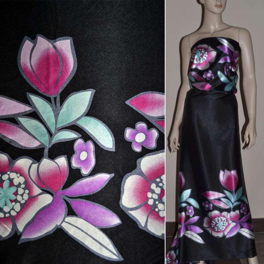 Стрейч атлас черный,двухсторонний купон в розово бирюзовые цветы ш.150