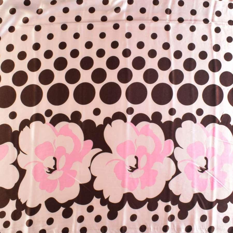 Атлас стрейч с коричнево-розовым абстрактным рисунком
