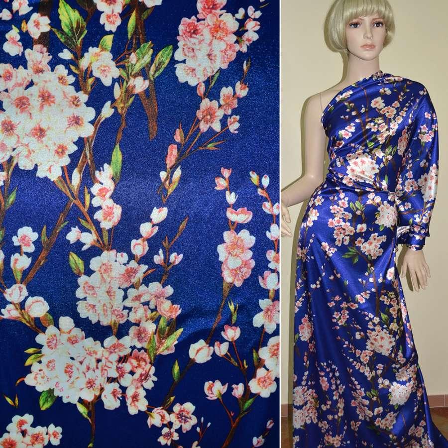 Стрейч атлас синий с цветущими веточками (принт) ш.150