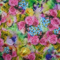 Атлас стрейч зелений з малиново-жовтими і синіми квітами ш.150