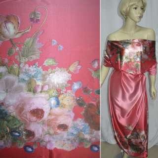 Атлас стрейч рожево-червоний, двосторонній купон квіти ш.150