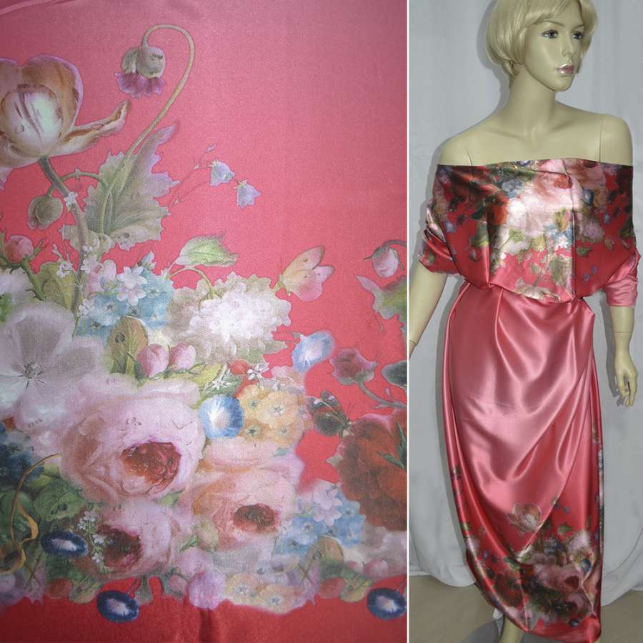 Стрейч атлас розово красный,двухсторонний купон цветы ш.150