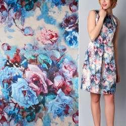 Атлас стрейч пісочний з рожево-блакитними квітами ш.150