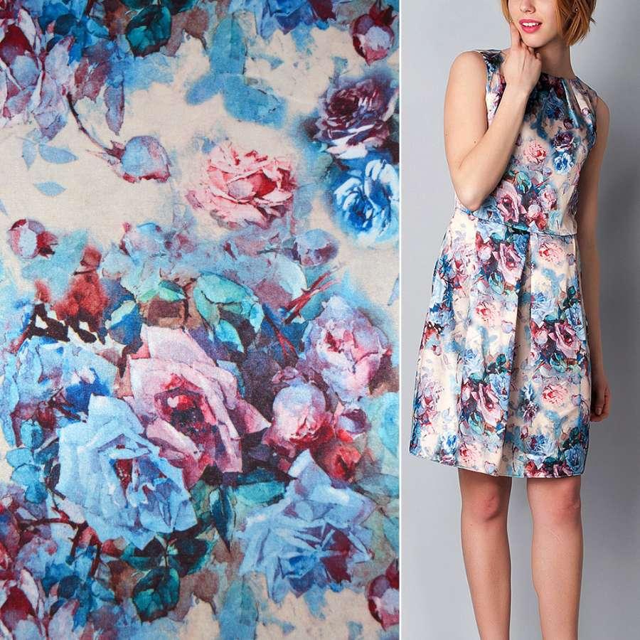 Стрейч атлас песочный с розово голубыми цветами ш.150