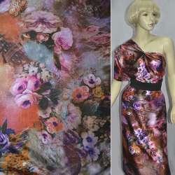 Атлас стрейч коричневий з рожево-фіолетовими квітами принт ш.150