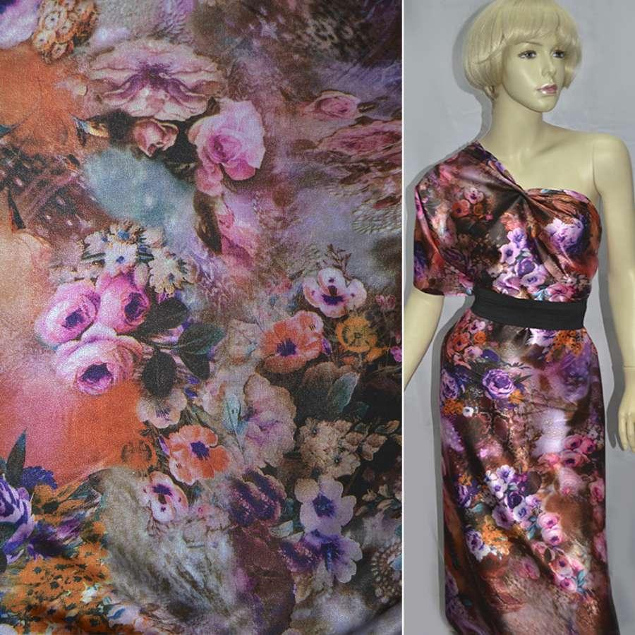Стрейч атлас коричневый с розово фиолетовыми цветами принт ш.150