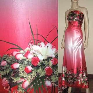 Атлас стрейч рожевий, двосторонній купон троянди ш.150
