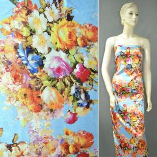 Атлас стрейч блакитний з золотисто-рожевими квітами ш.149