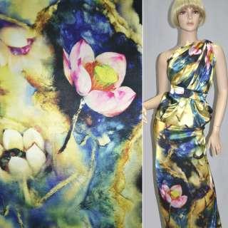 Атлас стрейч жовто-синій з рожево-зеленими квітами ш.155