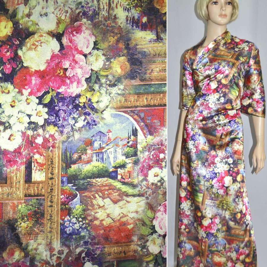 Атлас стрейч бежево-розовый с городским пейзажем и цветами ш.150
