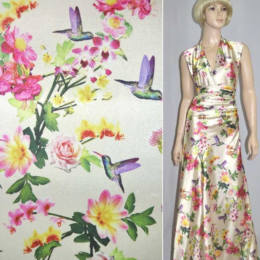 Атлас стрейч кремовый с розово-желтыми цветами и птицами ш.150