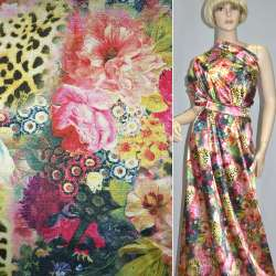 Атлас стрейч розово-золотой с цветами принт леопард (принт) ш.150