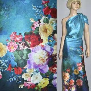 Атлас стрейч синьо-чорний односторонній купон квіти ш.152
