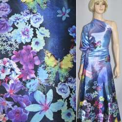 Атлас стрейч фиолетово-синий односторонний купон цветы бабочки ш.152
