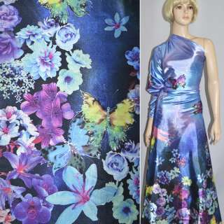 Атлас стрейч фіолетово-синій односторонній купон квіти метелики ш.152