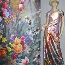 Атлас стрейч розово-серый односторонний купон разноцветные цветы ш.150