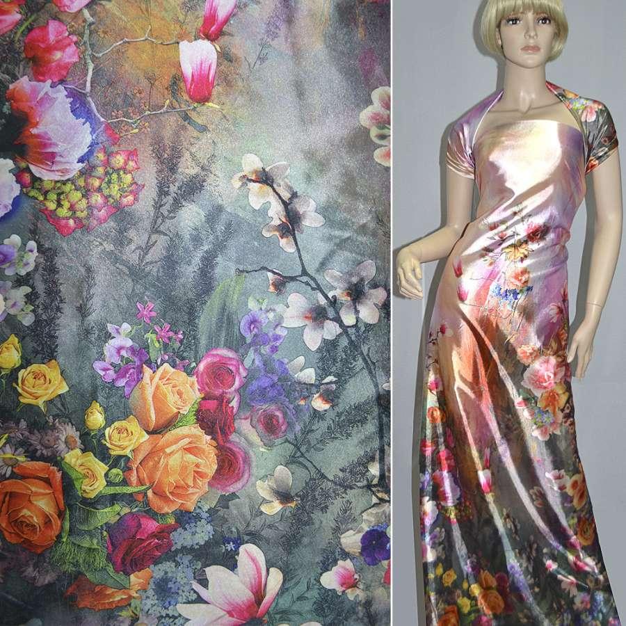 Стрейч атлас розово серый односторонний купон разноцветные цветы ш