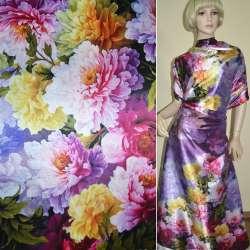 Атлас стрейч темно-сиреневый, двухсторонний купон разноцветные цветы ш.180