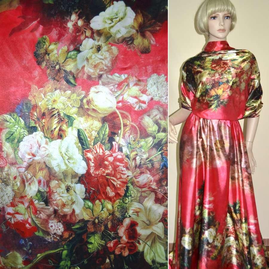 Стрейч атлас красный,двухсторонний купон разноцветные цветы ш.170