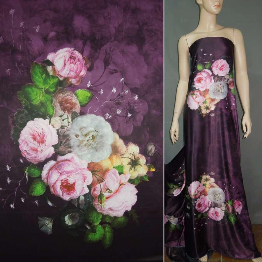 Атлас шелковый фиол темно фиолетовый с молочно розовыми букетами цветов