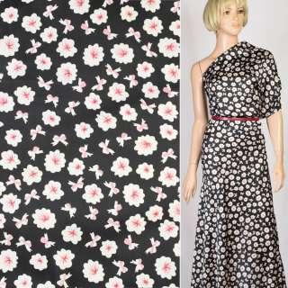 Шелк японский черный в бело-розовые цветы, ш.150