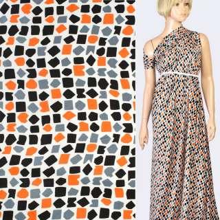 Шелк японский белый в черные, серые, оранжевые фигуры, ш.150