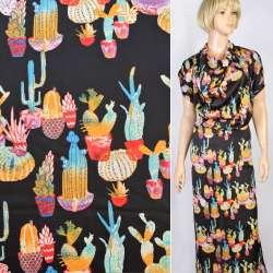 Шелк японский черный в разноцветные кактусы, ш.150