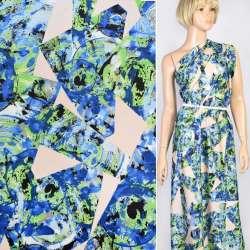 Шелк японский белый в сине-зеленый абстрактный рисунок, ш.150
