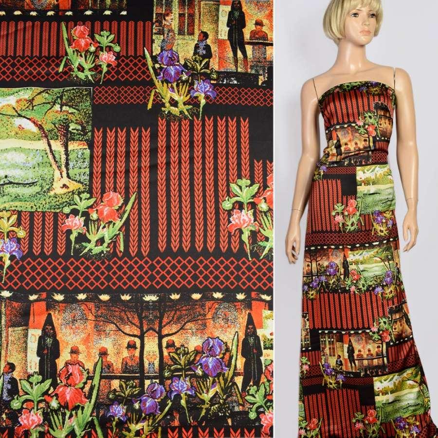 Шелк японский стрейч черный, красные стрелки, цветы, люди, раппорт 75см ш.150