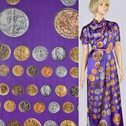 Шелк японский фиолетовый в монеты, ш.145