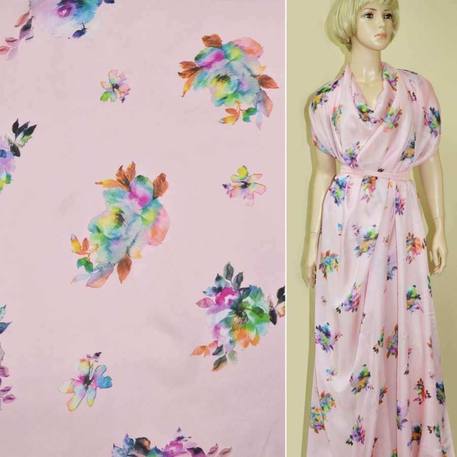 Шелк японский розовый с малиново террактовыми цветами ш.150
