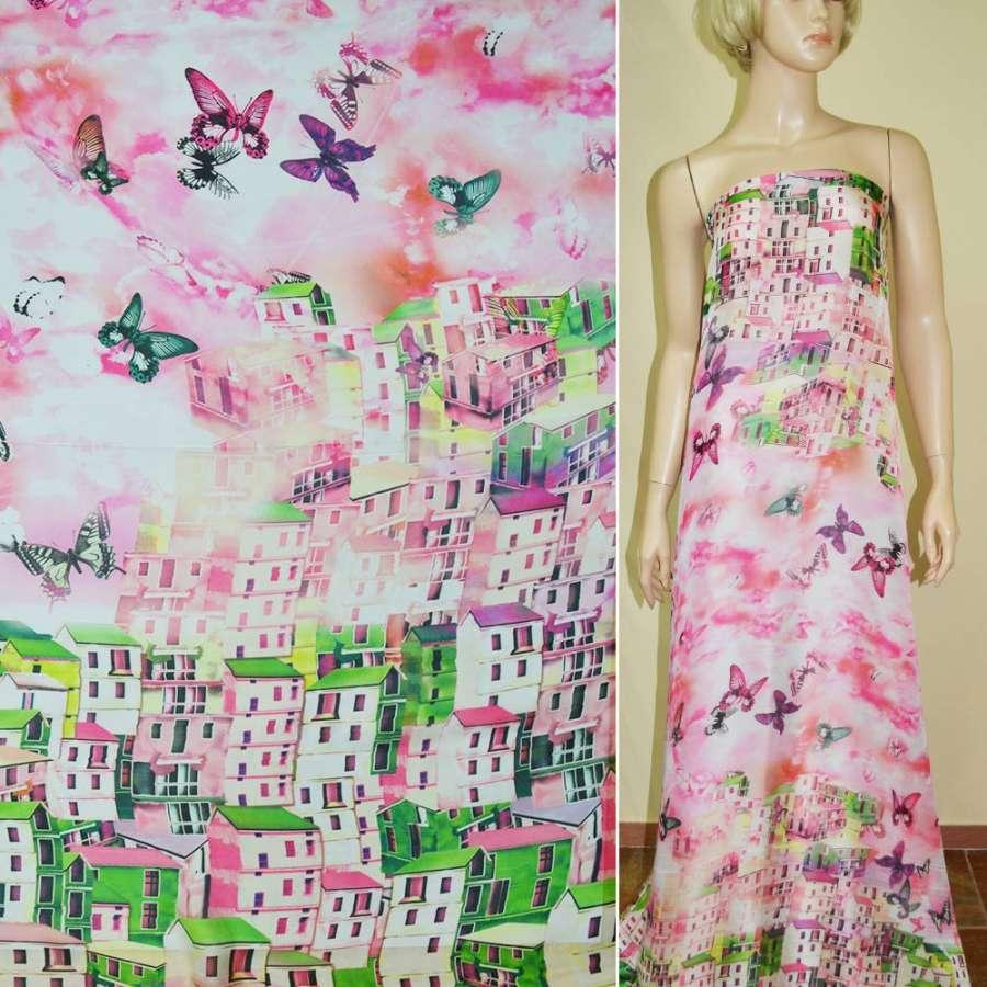 Шелк японский розовый,двухсторонний купон город (принт) ш.165