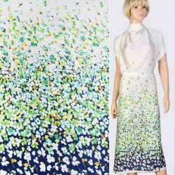 Шелк японский стрейч купон бело-зелено-синий в цветы ш.147
