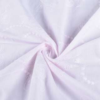 Батист розово-сиреневый вышитый рубашечный