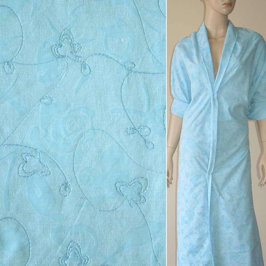 Батист деворе голубой с розами и вышивкой ш.150
