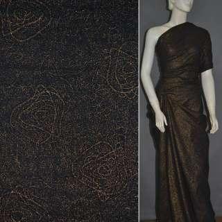 Батист черный с абстракцией вышивкой и золотым напылением ш.140