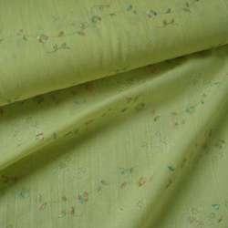 Батист деворе бледно желтый с разноцв вышивкой ш.140