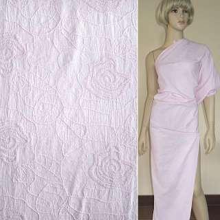 Батист светло розовый с вышивкой ш.145