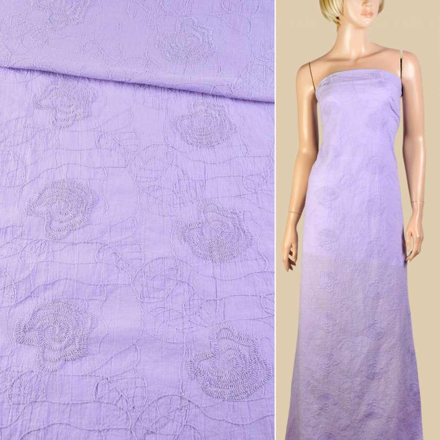 Батист фіолетовий світлий з вишивкою ш.145
