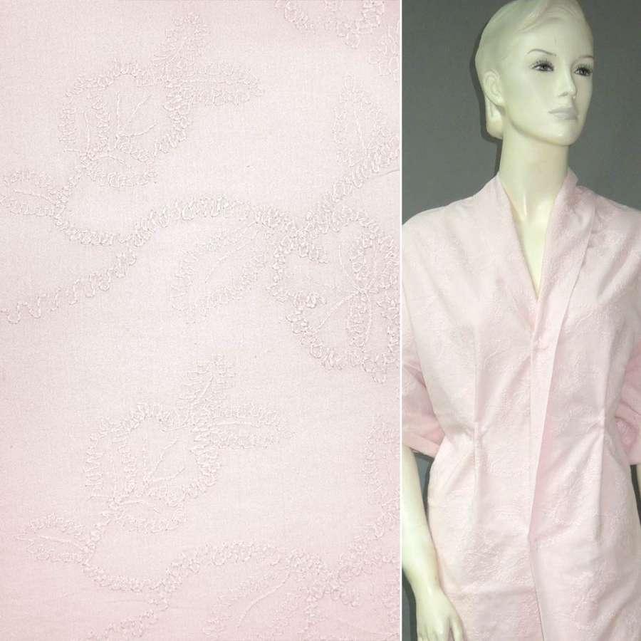 Батист розовый вышитый розовой нитью