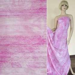 Батист жатый в стиле тай-дай розовый светлый с нашитым кружевом
