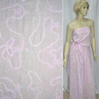 Батист розовый с вышивкой и настроченной тесьмой ш.140