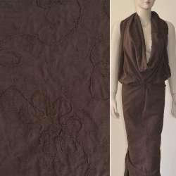 Батист коричневый с вышивкой и настроченной тесьмой ш.140