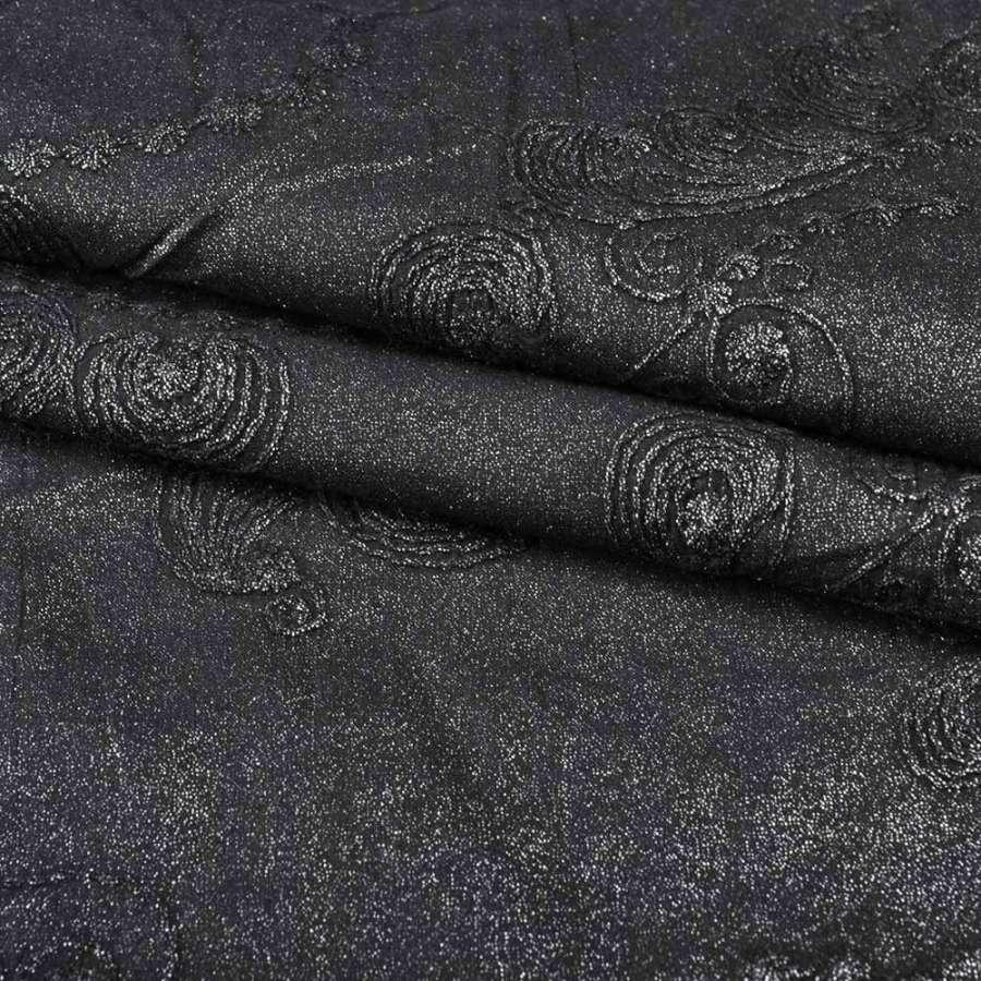 Батист черный с вышивкой и серебристым напылением, ш.140