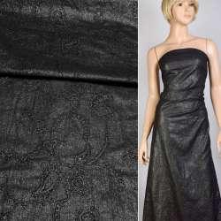 Батист черно-серебристый с вышивкой