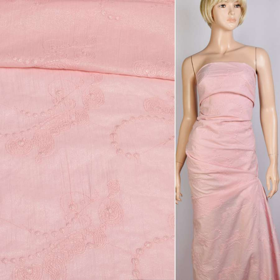 батист розовый с серебряным напылением и вышивкой, ш.140