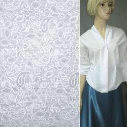 Батист белый с мелкими цветами и огурцами деворе ш.150