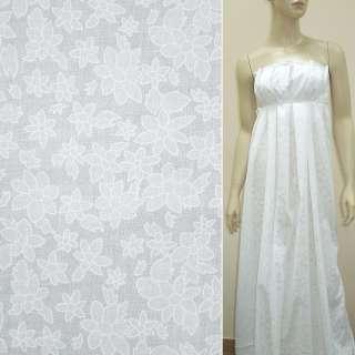 Батист деворе білий з великими і дрібними квітами ш.140